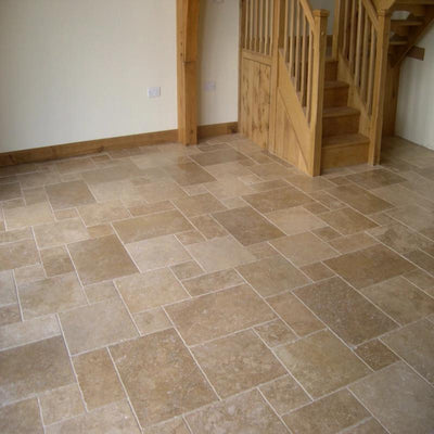 Noce Travertine Brushed and Chiseled Versailles Pattern Tile