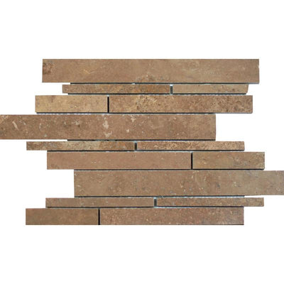 Noce Travertine Random Strip Honed Mosaic Tile