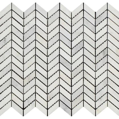 Oriental White Marble Mini Chevron Honed Mosaic Tile