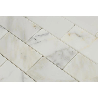Oriental White Marble 1x2 Honed Mosaic Tile