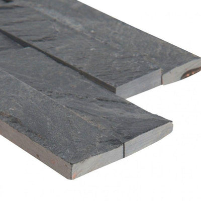 Black Slate 6x24 Stacked Stone Ledger Panel