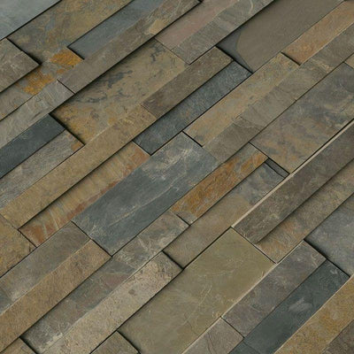 Rustic Gold 3D Slate 6x24 Stacked Stone Ledger Panel