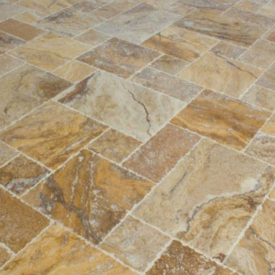 Scabos Travertine Unfilled Brushed and Chiseled Versailles Pattern Tile