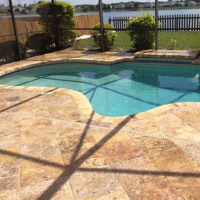 Scabos Travertine 16x24 5cm Tumbled Pool Coping