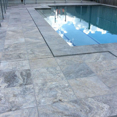 Silver Travertine 3cm 12x12 Tumbled Paver