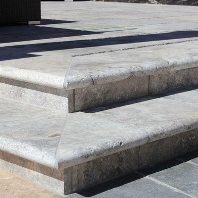 Silver Travertine 16x24 5cm Tumbled Pool Coping