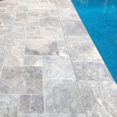 Silver Travertine Tumbled Versailles Pattern Tile