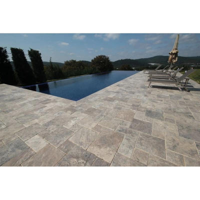 Silver Travertine Brushed and Chiseled Versailles Pattern Tile