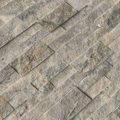 Silver Travertine 6x24 Split Face Stacked Stone Ledger Panel