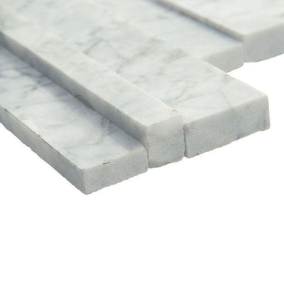 Statuario Marble 3D 6x24 Stacked Stone Ledger Panel