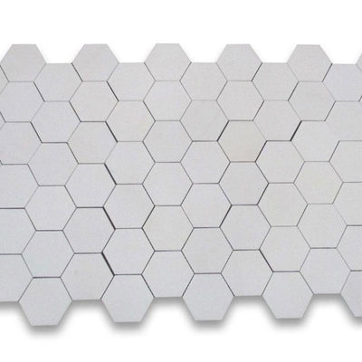 Thassos White Marble 2x2 Hexagon Polished Mosaic Tile