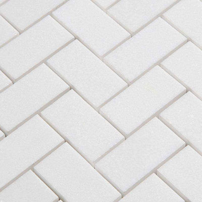 Thassos White Marble 1x2 Herringbone Polished Mosaic Tile