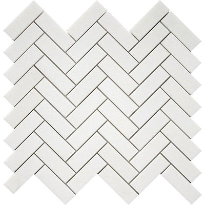 Thassos White Marble 1x3 Herringbone Polished Mosaic Tile