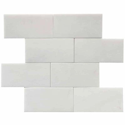 Thassos White Marble 3x6 Honed Tile