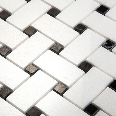 Thassos White Marble Polished Basketweave with Black Dots Mosaic Tile