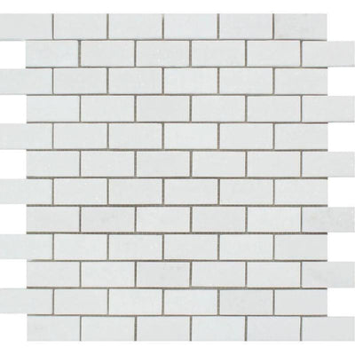 Thassos White Marble 1x2 Honed Mosaic Tile