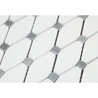 Thassos White Marble Octave with Blue Dots Polished Mosaic Tile