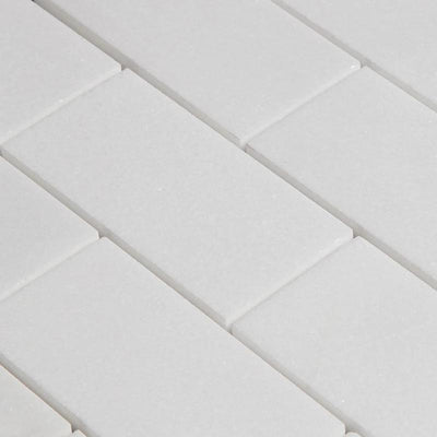 Thassos White Marble 2x4 Honed Mosaic Tile