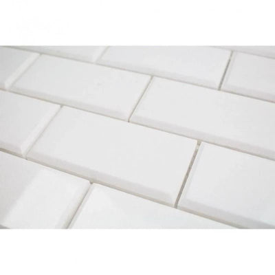Thassos White Marble Deep-Beveled 2x4 Honed Mosaic Tile