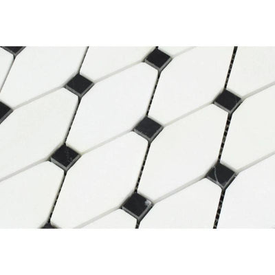 Thassos White Marble Octave with Black Dots Polished Mosaic Tile