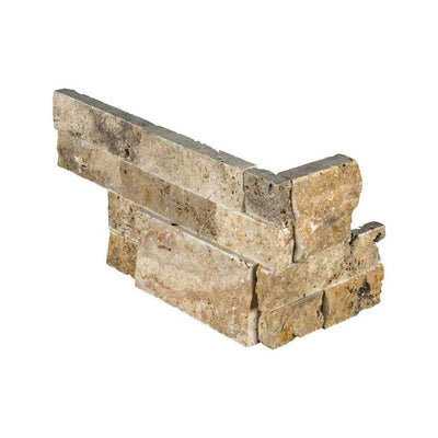 Scabos Travertine 6x18 Split Face Stacked Stone Ledger Corner