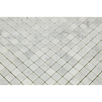 White Carrara Marble 5/8x5/8 Honed Mosaic Tile