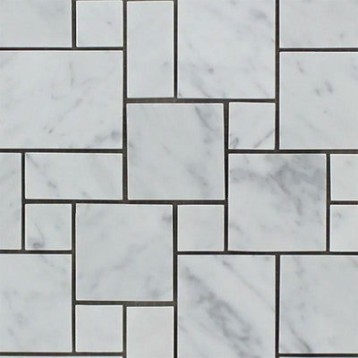 White Carrara Marble Micro Mini Pattern Honed Mosaic Tile