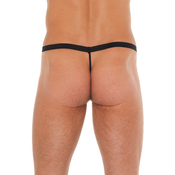 Mens Black GString With Pink Pouch