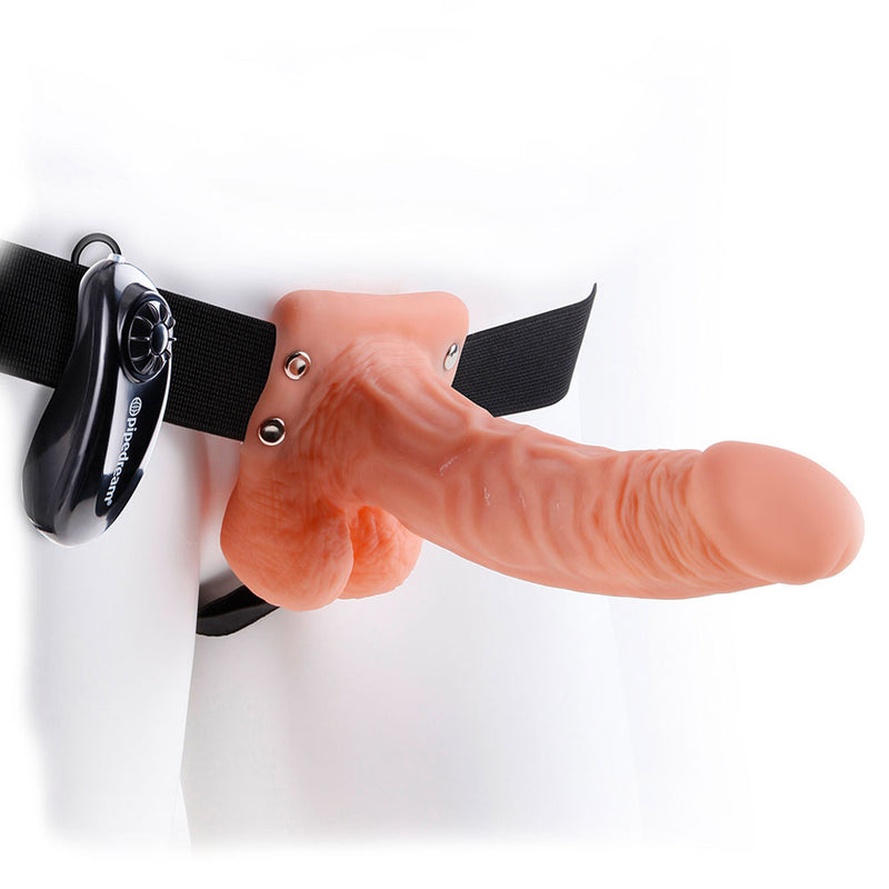 Fetish Fantasy Series 7 Inch Vibrating Hollow Strap On Flesh