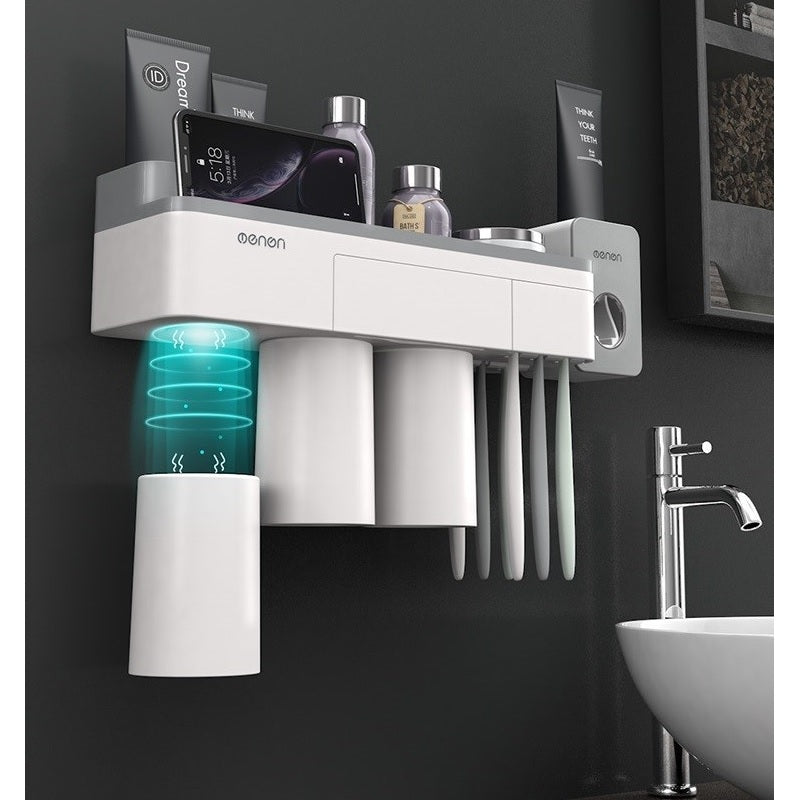 cozyrex,[Magnetic Design] Jordan&Judy Mutifunctional Magnetic Toothbrush Holder with Toothpaste Squeezer Cups Bathroom Storage Rack Nail Free Mount for Shaver Toothbrsuh Phone from Xiaomi Youpin,CozyRex,