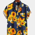 cozyrex,Mens Sunflower Printed 100% Cotton Fit Loose Causal Shirts,CozyRex,