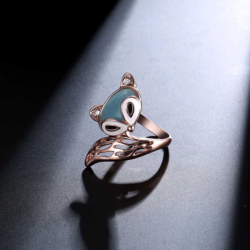 cozyrex,Cute Fox Opal Finger Ring Enamel Zircon Stylish Fashion Jewelry for Women,CozyRex,
