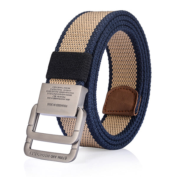 cozyrex,125CM Mens Canvas Belt Double Ring Alloy Buckle Tactical Durable Pants Waistband,CozyRex,