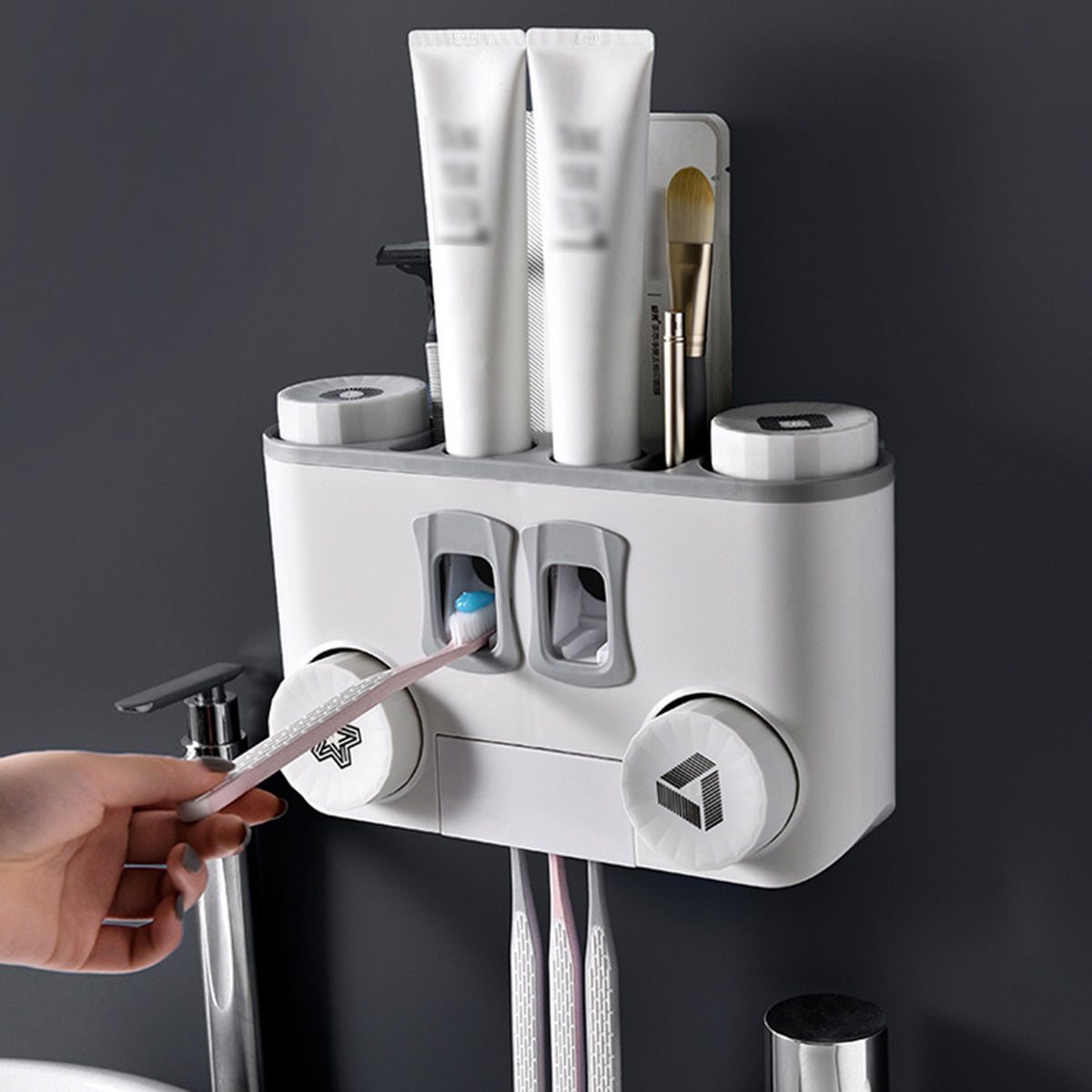 cozyrex,Toothbrush Holder No Drill Wall Mount Storage Rack Bathroom Toothpaste Dispenser Shelf,CozyRex,
