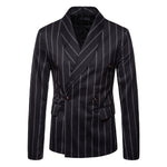 Mens Fashion Striped Printing Casual Double Breasted Suits