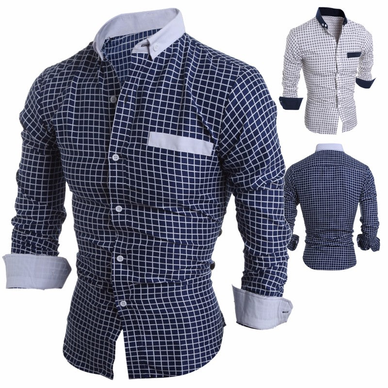 cozyrex,Mens Long Sleeve Plaid Printing Slim Fit Casual Designer Shirt,CozyRex,