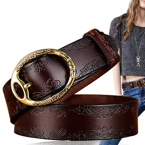 cozyrex,100CM Women Retro Printed Leather  Carved Jeans Belts,CozyRex,