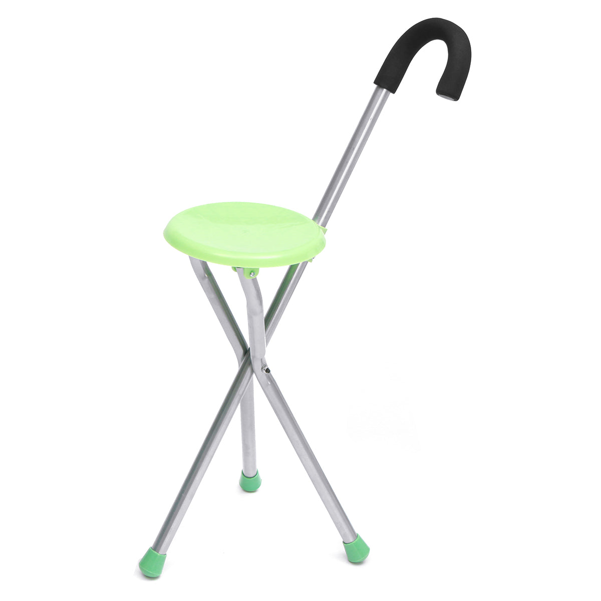 Camping Folding Tripod Cane Walking Stick Seat Portable Stool Chair Max Load Bearing 130kg