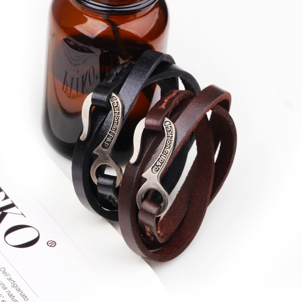 cozyrex,Vintage Retro Leather Multilayers Adjustable Fashion Women Men Bracelet,CozyRex,