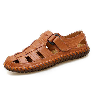 cozyrex,Men Soft Cow Leather Hand Stitching Hook Loop Sandals,CozyRex,