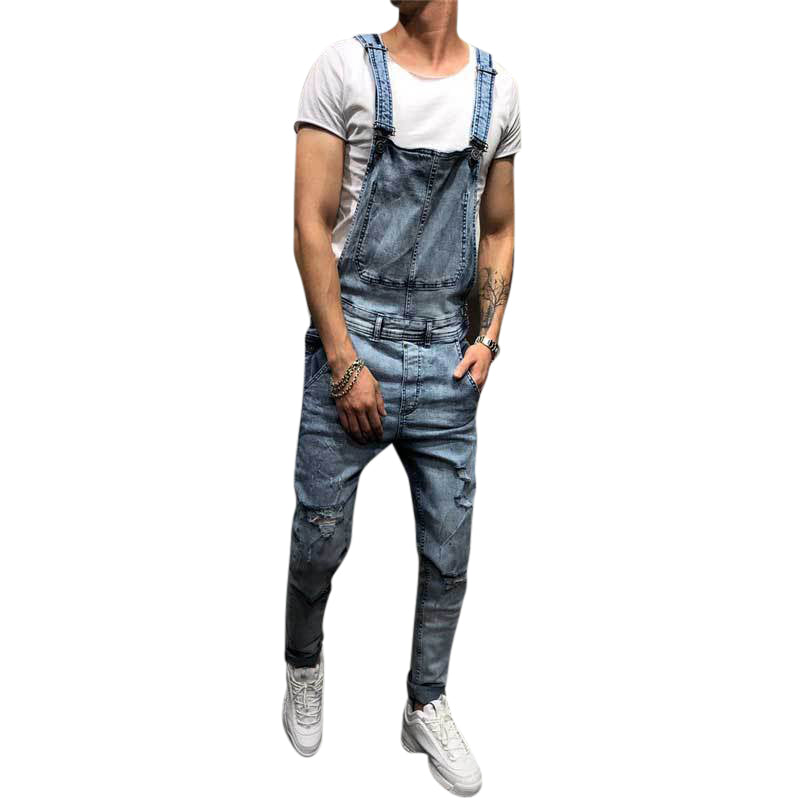 Denim Overalls Suspenders Ripped Jeans For Men