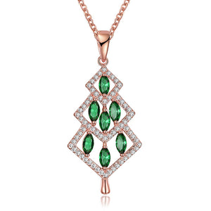 cozyrex,INALIS Christmas Tree Pendant Green Zirconia Necklace,CozyRex,
