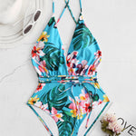 Flora Printed Deep Open Necklines Strappy Backless Swimwear
