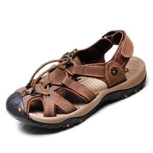 Men Casual Leather Sandals Comfortable Round Toe Beach Outdoor Sandals Shoes