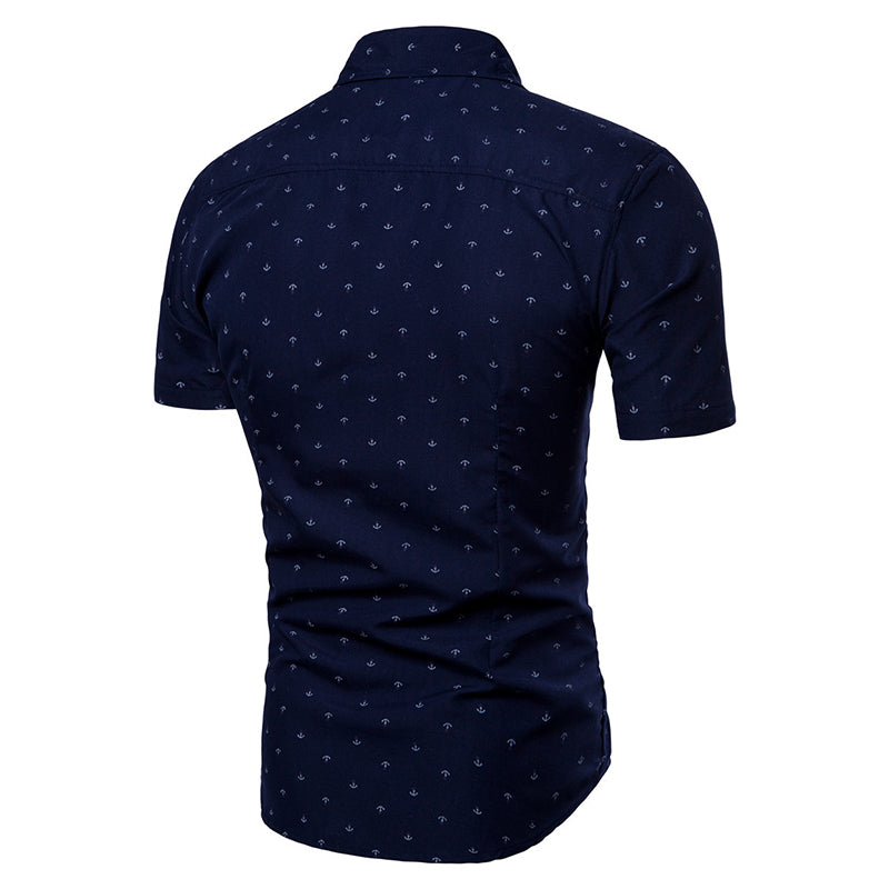 cozyrex,Casual Anchor Printing Slim Men Shirts,CozyRex,