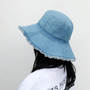 cozyrex,Women Denim Shabby Sunshade Bucket Hat,CozyRex,