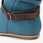 cozyrex,Women Retro Leather Buckle Belt Round Toe Flat Short Boots,CozyRex,