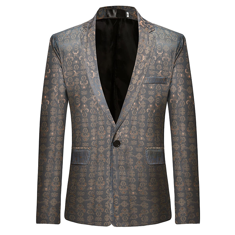 Mens Business Casual Print Slim Young Blazer