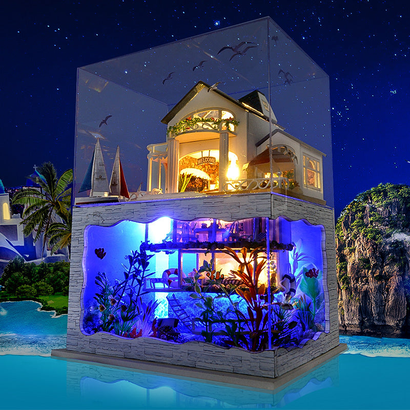 T-Yu Hawaii Villa DIY Dollhouse Miniature Model Doll House With Light Cover Extra Gift Decor Collection Toy