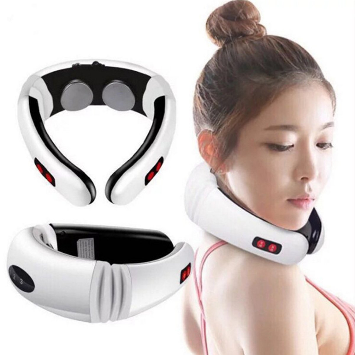 Hot Electric Cervical Neck Massager Body Shoulder Relax Massage Magnetic Therapy